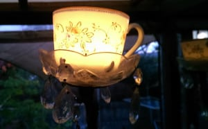 Tea Cup as a tea Light Holder in the upcycled candelabra