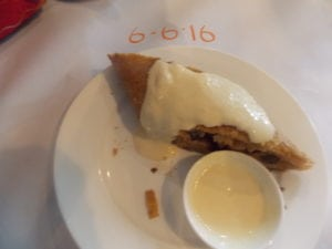 The finest Apple Strudel known to mankind, plus sweetened cream.